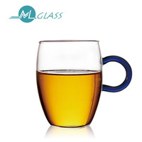 High borosilicate glass mug glass cup with colorful handle handblown glassware tea cup OEM ODM 300ml