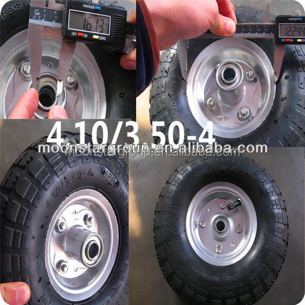 high quality 4.10/3.50-4 small penumatic rubber wheel for hand trolley carts