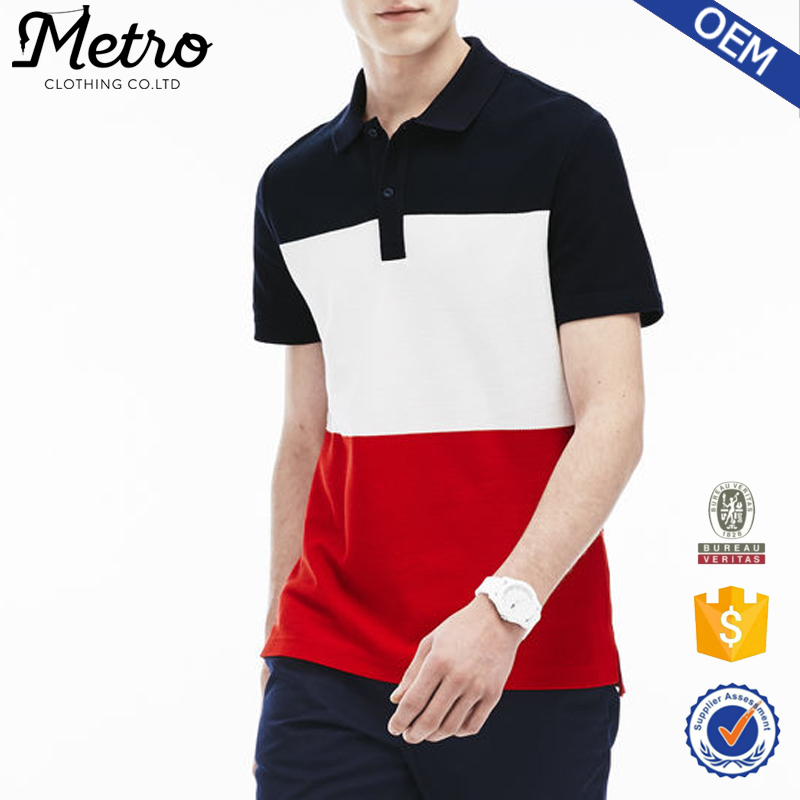 Wholesale Newest Style Slim Fit Men's Black Red White Polo Shirt