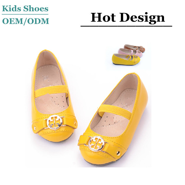 Bright yellow leather dress shoes girls flat dance shoes eva children garden shoes