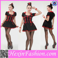 Red And Black Stripes Mature Women Costumes Dress