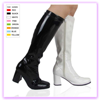 Patent leather classic design women thick heels knee boots high heel boots