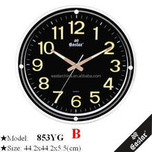 Hot selling glow in the dark clock with luminum dials with large number