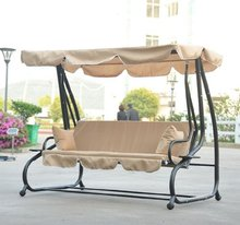 Covered Outdoor Porch Swing/Bed with Frame, Sand outdoor hanging lounge chair