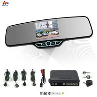 Hot sale ALD90B- with car mp3 player,fm transmitter Rearview Mirror with 3.5'' TFT wireless backup camera car parking radar