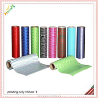 Printing poly material film for gift package ribbon and bow