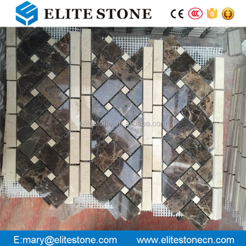 Dark emperador kitchen wall tiles, profession design marble mosaic