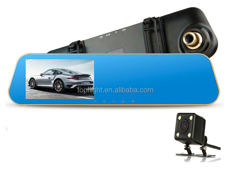 4.3 inch screen dual lens parking monitor reverse video rear mirror with camera