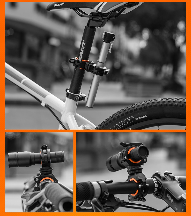 Latest version double sided Clamp Handlebar Mount Bicycle Holder for flashlight torch lamp mini round speaker bullet camera pen