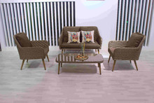 Home garden mail order PE wicker sofa furniture, bamboo garden set