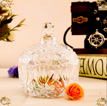 wholesale beautiful elegant clear decorative glass candy jar with lid