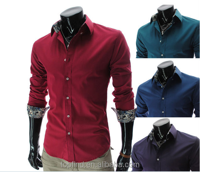 shrits manufacturer OEM fashion italian style deep red ,blue color men shirts