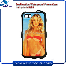 sublimation waterproof cell phone case for iPhone5/5S,360 degree protection