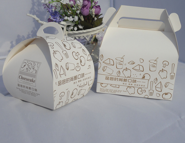 cute mini baking cheese cake paper handle boxes