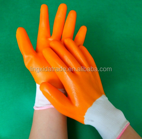 13G polyseter/nylon PU coated safety labor gloves coated glove
