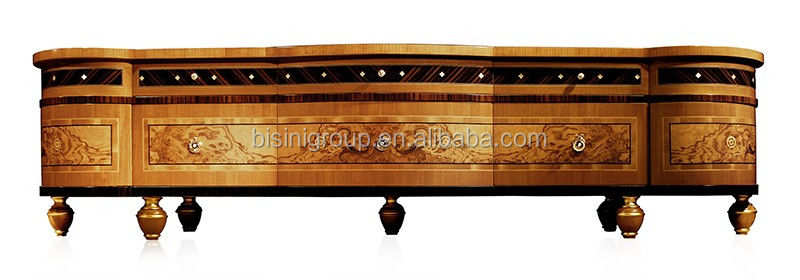 Classic Regina Imperial Design High End Solid Wood Burl Veneer Inlay Long TV Cabinet BF11-02284g