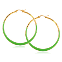 Green Enamel Dangler One Piece Gold Gypsy Double Jhumka Big Hoop Earring