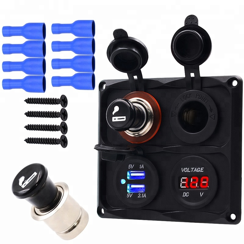 4 in 1 Waterproof Car Boat SUV Marine switch panel With Charger 2USB +DC Voltmeter Meter + Power Socket