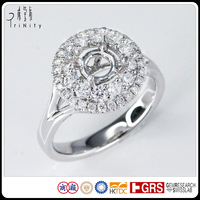 14K 18k pt900 18 Carat White Gold Real Diamond Wedding Bridal Solitaire Ring Wholesale