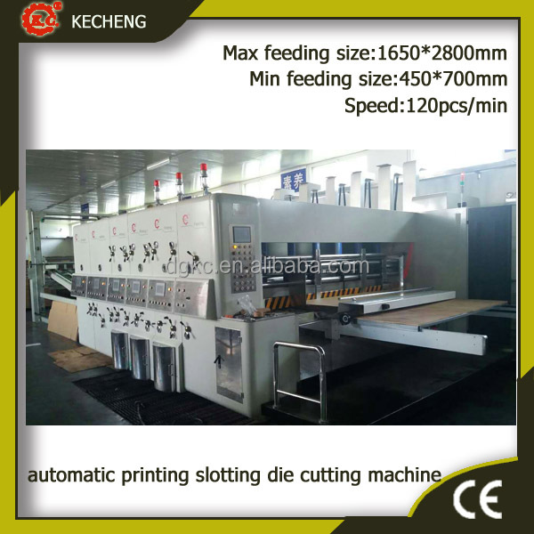 automatic corrugated paperboard flexo ink printing slotting die cutting carton packaging machine