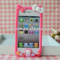 Pink Cute 3D Hello Kitty bow Frame Silicone Soft Bumper Case for iPhone 4 4G 4S