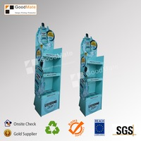 Custom 3 tier shelves Floor Paper Cardboard Display Rack