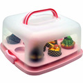 Square Portable Cake Carrier LOCK Cake Storage Box with CupCake Tray