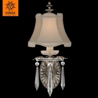 Elegant bedroom one lights Metal Crystal Warm antiqued silver fabric shade wall lamp