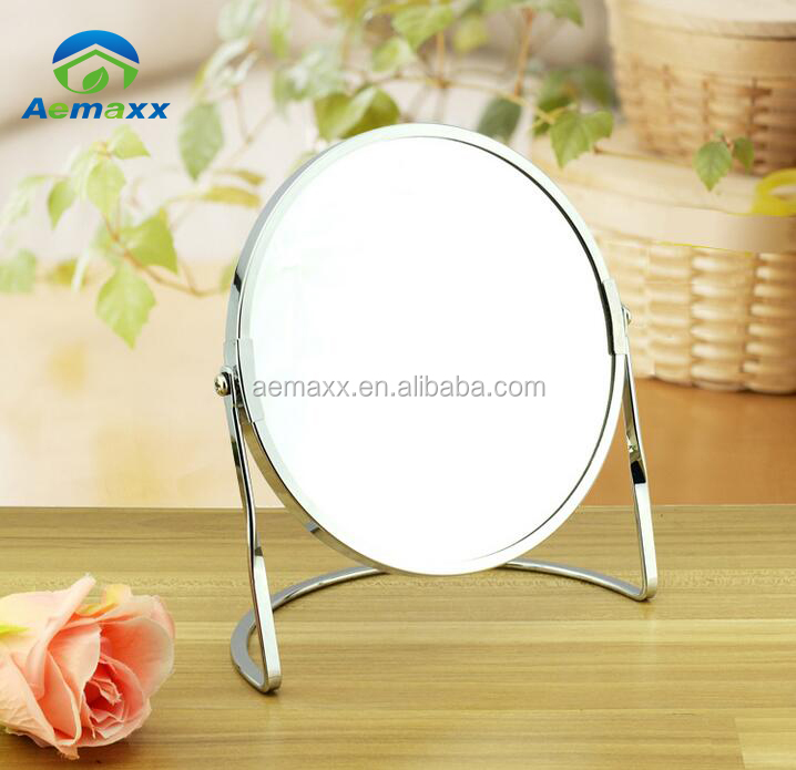 professional 360 degree rotate two face magnify function free stand vintage makeup mirror for girls