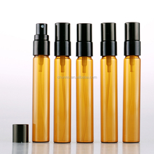 Fancy 5ml 10ml 15ml amber portable glass perfume spray bottle with black cap
