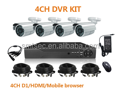 "DVR-KIT104EF/30 1/3""sony CCD 700TVL Effio DSP and 30m Cables H.264 Network 4ch D1 DVR KIT"