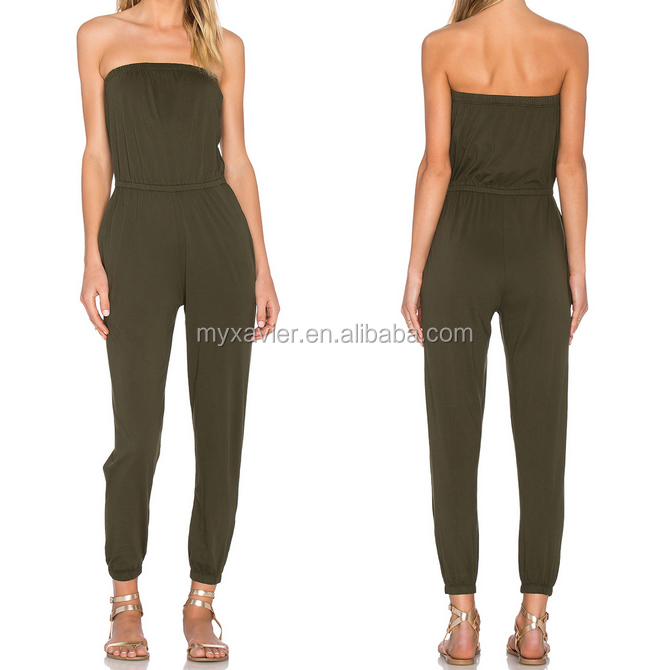 Latest new design ladies jumpsuit for women 2016 jersey strappless cinched waist Elasticized bust adult pajamas jumpsuit