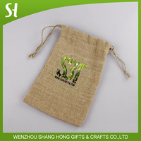 custom logo print wholesale drawstring gift hessian bag