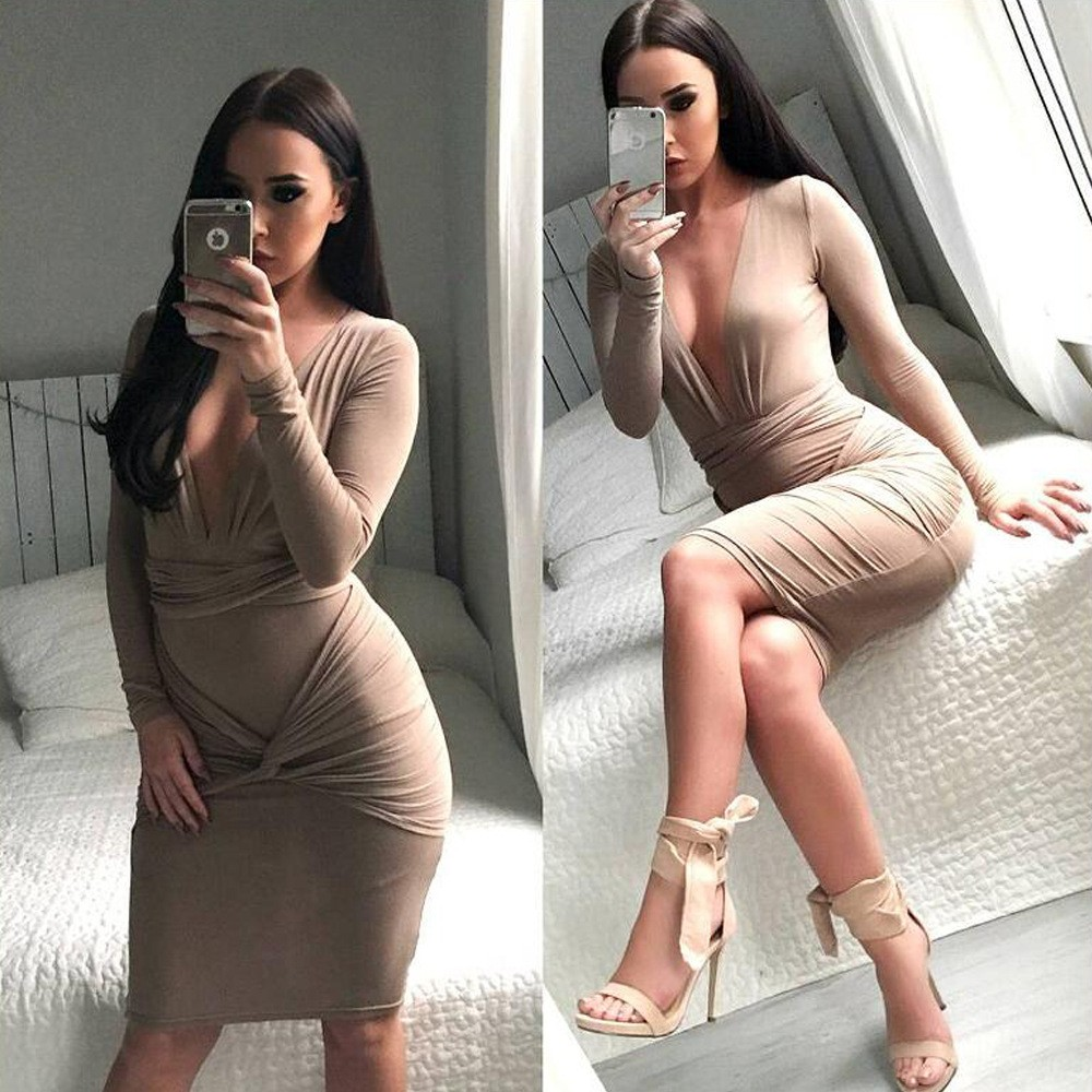 Wholesale Fashion Solid Black Plunge V neck Long Sleeve Pencil Dress Bodycon Sexy Skinny Autumn Dresses for Women