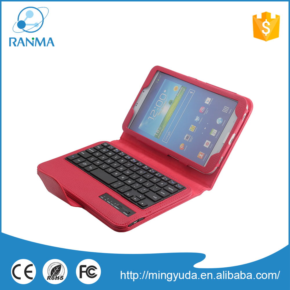 Customized 8 inch tablet pc flip stand leather bluetooth keyboard case for samsung Tab 3