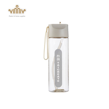500ML plastic drinking water bottle with straw