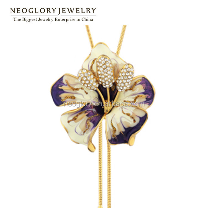Neoglory Rhinestone Flower Enamel Long Chains Necklaces <strong>Pendants</strong> for Women Gold Plated Fashion Jewelry Brand 2015 New