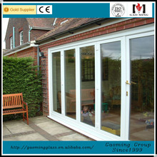 Aluminum frame hinge tempered 2 panels insulated energy conservation glass door