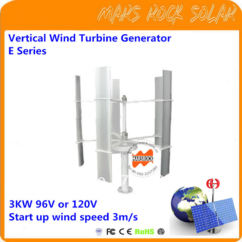 Vertical Axis Wind Turbine Generator VAWT E Series 3000W 96V or 120V Light and Portable Wind Generator Strong and Quiet