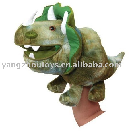 hot sale green color life size dinosaur hand puppet