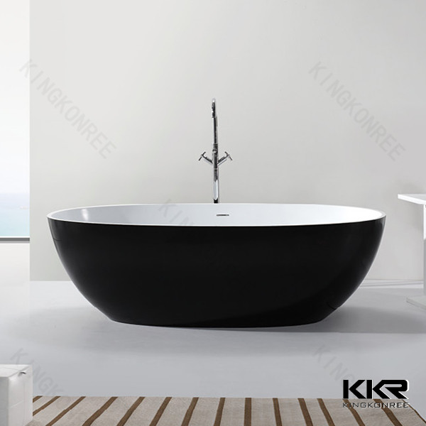 European matte black artificial stone freestanding bath