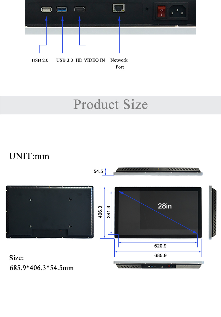 Remote publishing system convenience stores use CMS 28inch built-in WIFI and 4G module digital player 4k digital advertising mac