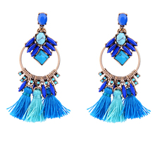 2017 gold plated jewelry supplies blue fringe earrings western jewelry supplies indian jewelry supply