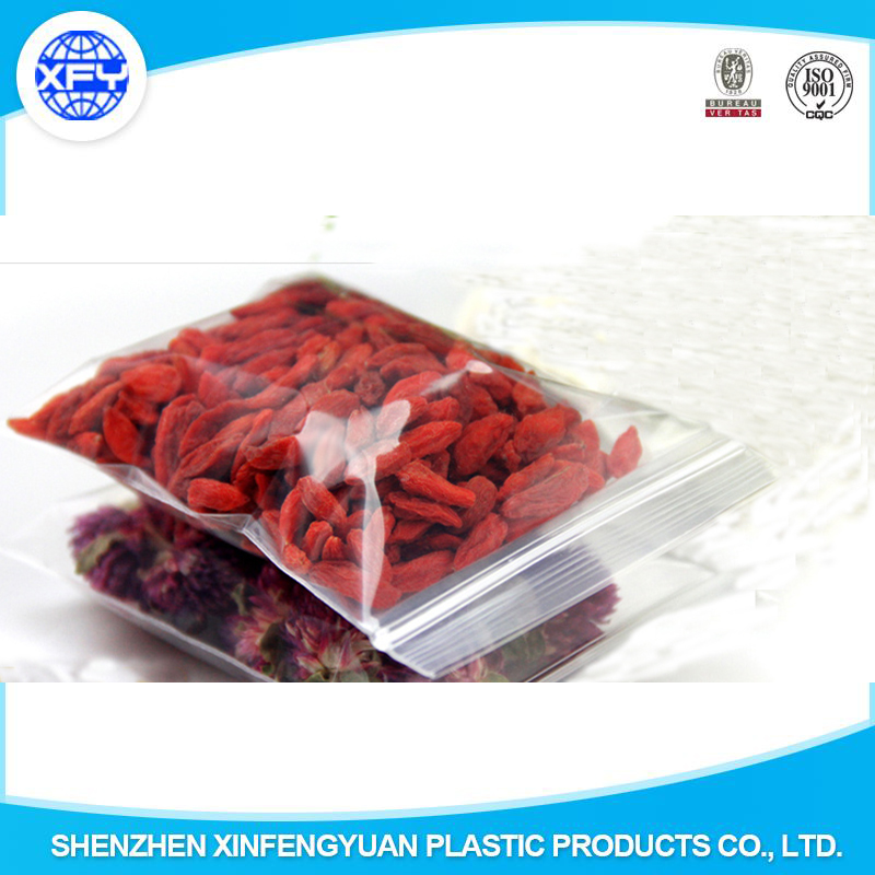 Wholesale popular PE plastic bag for food packing with zipper