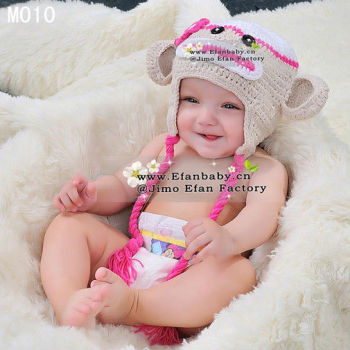 Cute baby animal knit caps crochet girls soft pink monkey hats