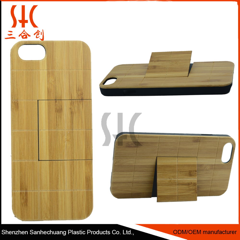 Stand custom printed real woods+pc bamboo wooden stand mobile phone case for iphones