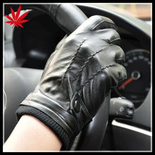 Men's black leather gloves motorcycle and car driving gloves
