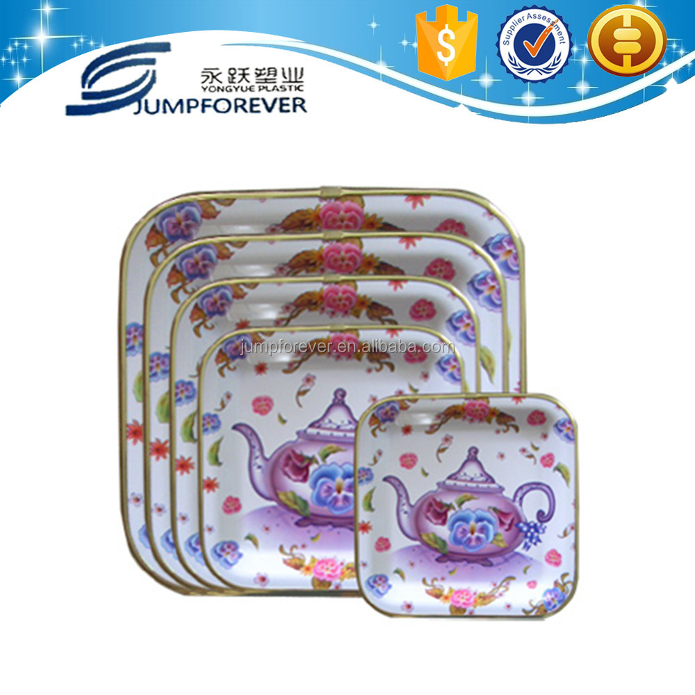 Promotion cheap new kettle design print square with gold plastic tray/Snack dish