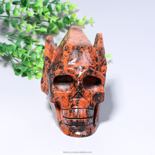 Hot Sale Natural Red Obsidian Stone Quartz Carved Crystal Skulls For Sale