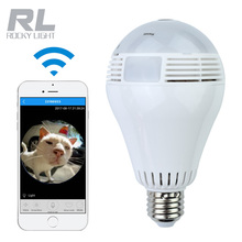 Smart wireless wifi led bulb lamp surveillance security light bulb hidden camera with SD Card Speaker